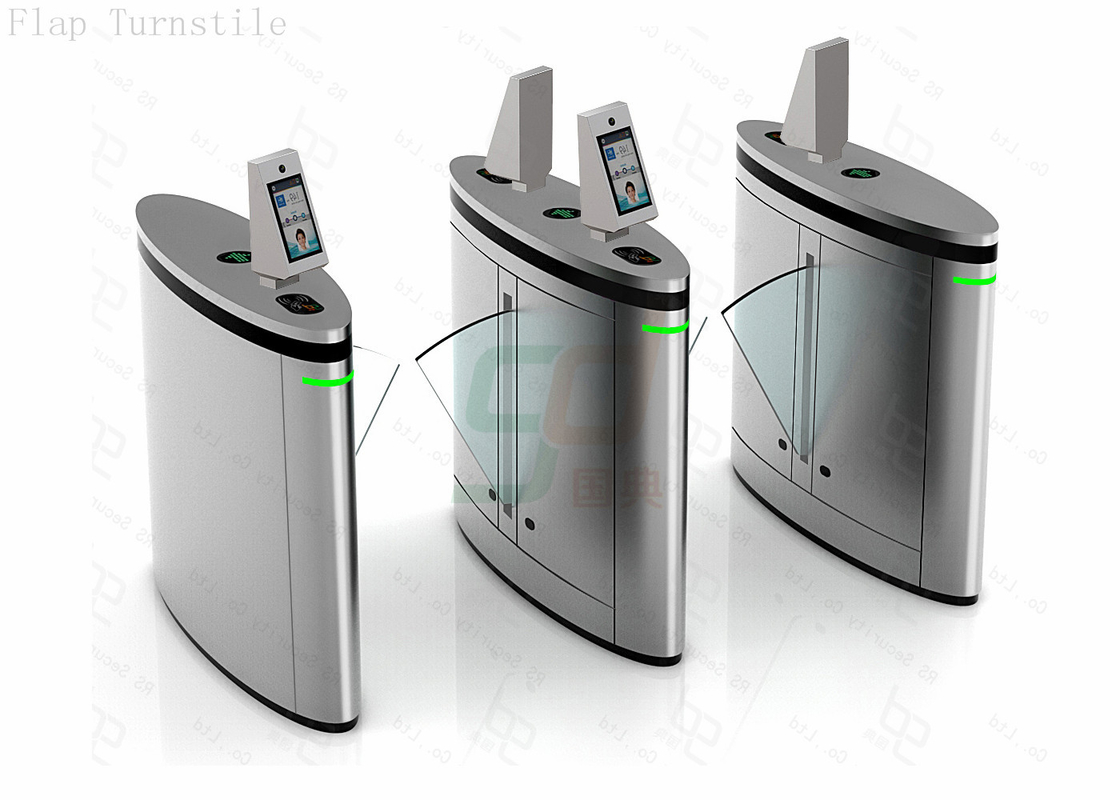 Waist Height Subway Flap Turnstyle Gate Access Control Systems With Face Recognition